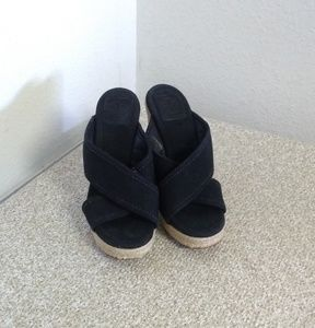 Tory Burch Black Canvas Espadrille Wedge Shoes